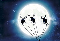 Santa Claus flying over Finland in his sleigh equipped with a GPS navigation system
